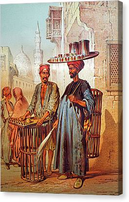 Canvas Print featuring the photograph Tea Seller by Munir Alawi