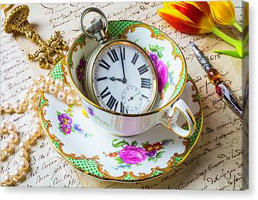 Tea Time With Pearls Canvas Print