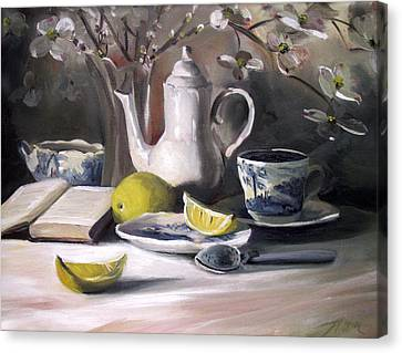 Canvas Print featuring the painting Tea With Lemon by Nancy Griswold