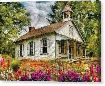 One Room School Houses Canvas Print - Teacher - The School House by Mike Savad