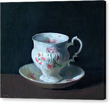 Teacup And Saucer On Dark Background Canvas Print