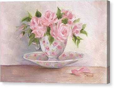 Teacup And Saucer Rose Shabby Chic Painting Canvas Print