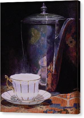 Teacup And Teapot On An Oriental Rug Canvas Print by Jeffrey Hayes