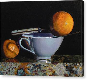 Teacup, Fork, And Two Oranges On Granite Canvas Print by Jeffrey Hayes