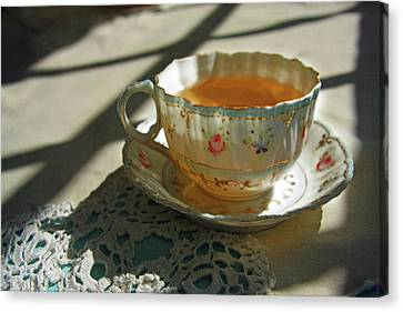 Canvas Print featuring the photograph Teacup On Lace by Brooke T Ryan
