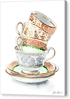 Mad Hatter Canvas Print - Teacups Collection Antique Watercolor Painting - Mismatched Green Gold Tea Party Alice In Wonderland by Laura Row