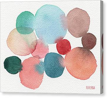 Teal And Coral Abstract Watercolor  Canvas Print