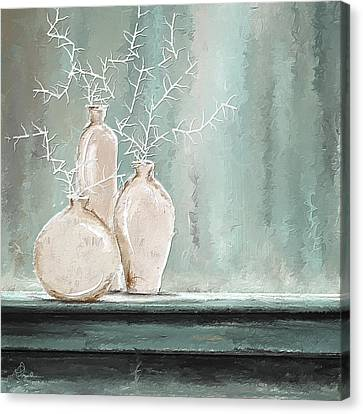 Teal And White Art Canvas Print by Lourry Legarde