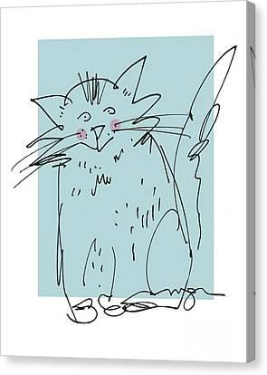 Teal Cat Canvas Print