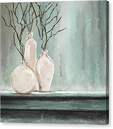 Teal Elegance - Teal And Gray Art Canvas Print by Lourry Legarde