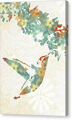 Teal Floral Hummingbird Art Canvas Print by Christina Rollo