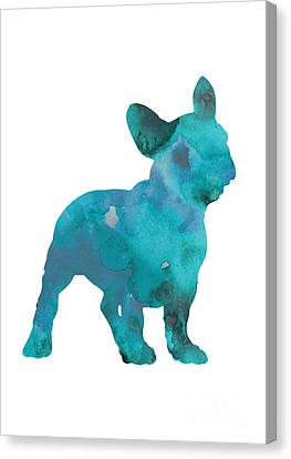 Bulldogs Canvas Print - Teal Frenchie Abstract Painting by Joanna Szmerdt