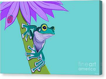 Teal Frog And Purple Flower Canvas Print by Nick Gustafson