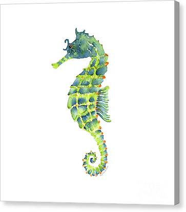Teal Green Seahorse - Square Canvas Print by Amy Kirkpatrick