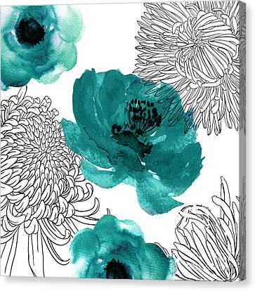 Teal Mums Canvas Print by Mindy Sommers