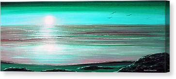 Teal Panoramic Sunset Canvas Print by Gina De Gorna