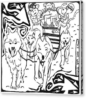 Team Of Monkeys Dog Sled Maze Canvas Print by Yonatan Frimer Maze Artist