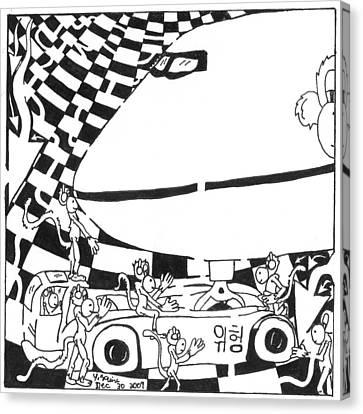 Team Of Monkeys Ground Crew Canvas Print by Yonatan Frimer Maze Artist