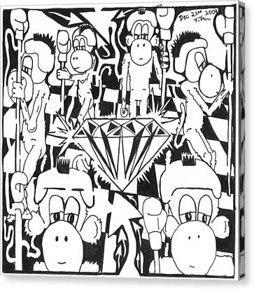 Team Of Monkeys Guarding The Crystal Maze Canvas Print by Yonatan Frimer Maze Artist