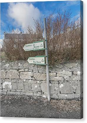 Teampall Sign Inis Mor Ireland Color Canvas Print by Betsy Knapp