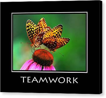 Teamwork Inspirational Motivational Poster Art Canvas Print by Christina Rollo