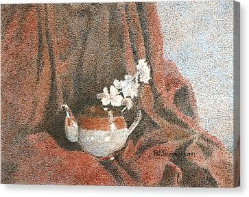 Teapot On Red Canvas Print by Pat Schermerhorn