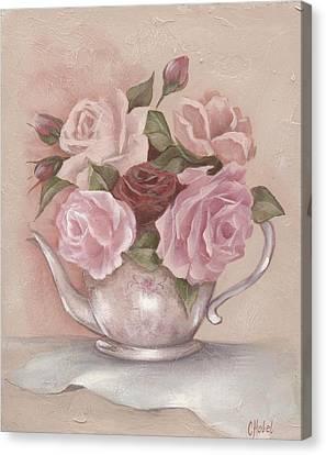 Teapot Roses Canvas Print by Chris Hobel