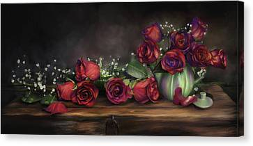 Canvas Print featuring the digital art Teapot Roses by Susan Kinney