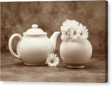 Teapot With Daisies II Canvas Print by Tom Mc Nemar