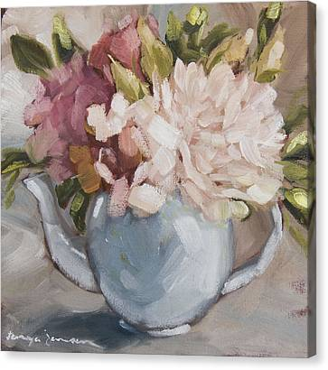 Teapot With Peonies Canvas Print
