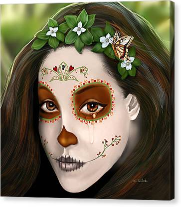 Teary Eyed Day Of The Dead Sugar Skull  Canvas Print by Maggie Terlecki