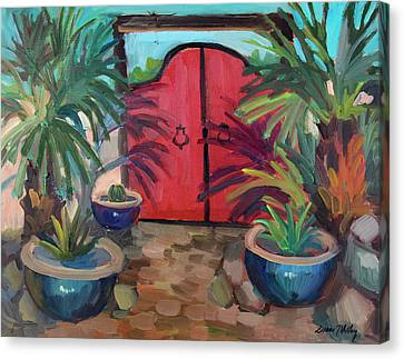 Canvas Print featuring the painting Tecate Garden Gate by Diane McClary