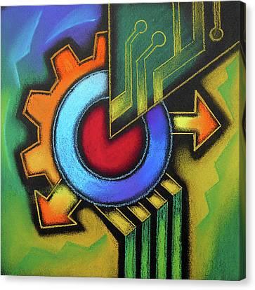 Tech Symbol Canvas Print by Leon Zernitsky