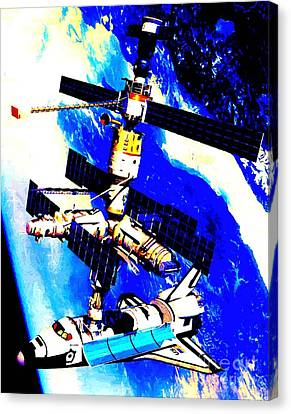 Technical Rendition Of The Space Shuttle Atlantis Docked To The Kristall Module Of The Russian Mir  Canvas Print by Art Gallery