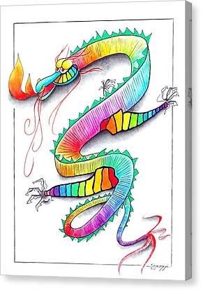 Technicolor Dragon -- Rainbow-colored Whimsical Dragon  Canvas Print by Jayne Somogy
