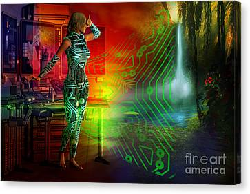 Canvas Print featuring the digital art Techno Future by Shadowlea Is