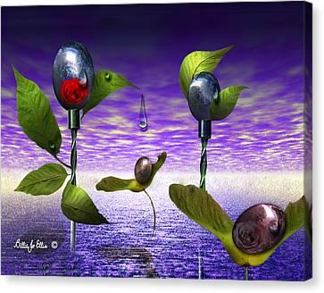 Techno Nature - Flower Drills Canvas Print by Billie Jo Ellis
