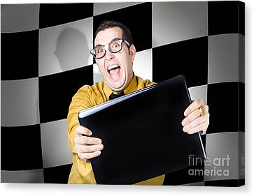 Technology Salesman Selling Laptop Computers Canvas Print by Jorgo Photography - Wall Art Gallery