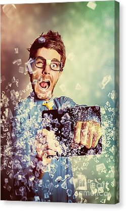 Technology Tablet Man With Creative Breakthrough Canvas Print