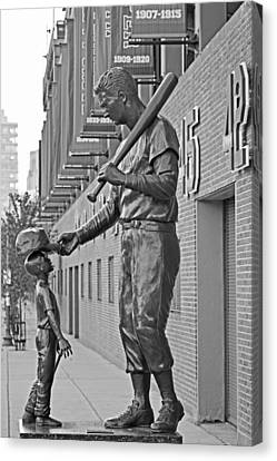Ted Williams Statue Boston Ma Fenway Park Black And White Canvas Print