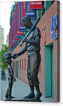 Ted Williams Statue Boston Ma Fenway Park Canvas Print by Toby McGuire