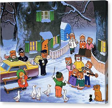 Police Christmas Card Canvas Print - Teddies In Winter  by English School