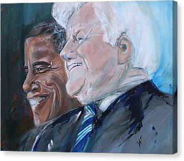 Teddy And Barack Canvas Print by Valerie Wolf