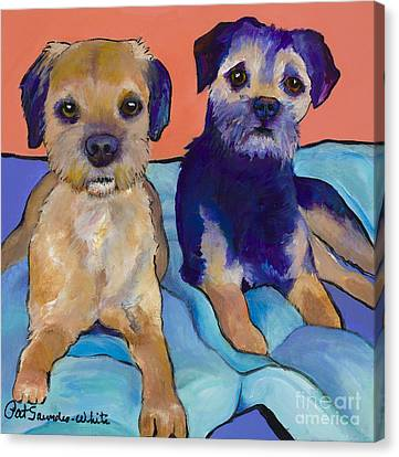 Teddy And Max Canvas Print by Pat Saunders-White