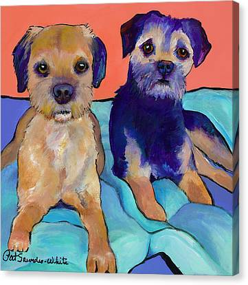 Pat Saunders-white Art Canvas Print - Teddy And Max by Pat Saunders-White