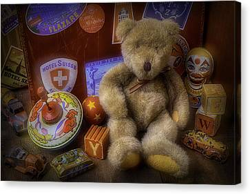 Teddy Bear And Old Toys Canvas Print by Garry Gay