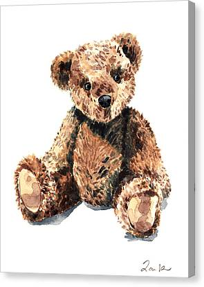 Teddy Bear Brown Bear Stuffed Animal Vintage Toy Steiff Canvas Print by Laura Row