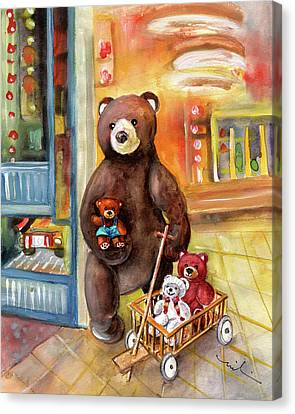 Teddy Bear Day Out In Sweden Canvas Print by Miki De Goodaboom