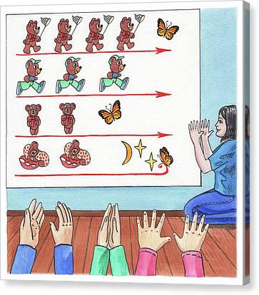 Teddy Bear Game Book Illustration Canvas Print by Irina Sztukowski