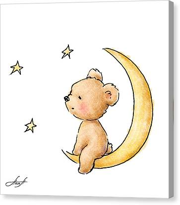 Teddy Bear Watching The Stars  Canvas Print by Anna Abramska
